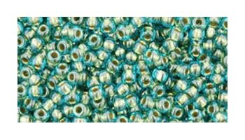 toho rocaille inside color aqua - gold lined