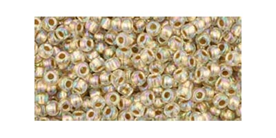 toho rocaille gold lined rainbow crystal