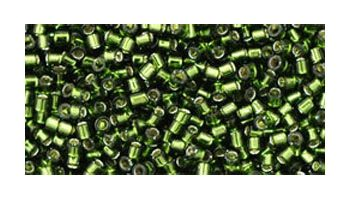 Toho delica 11/0 Silverlined olivine