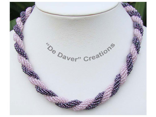 collier double spiral druifpaars