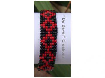 armband zwart - rood