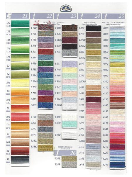 dmc kleurkaart mouline en effect borduurgaren