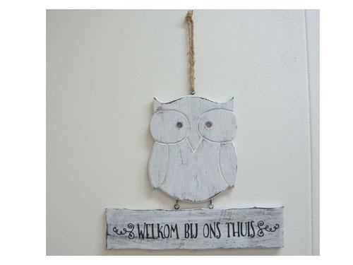 hanger uil Welkom bij ons thuis antique white