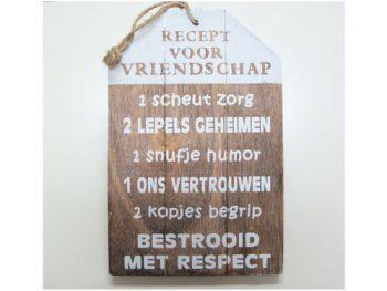 tekstplank recept voor vriendschap naturel