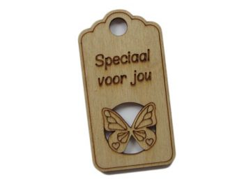 houten label speciaal voor jou (vlinder)