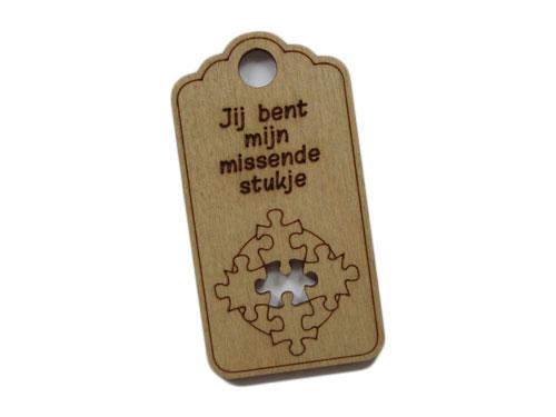 houten label missende stukje