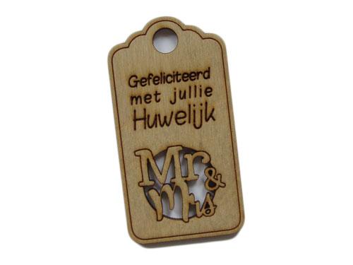 houten label huwelijk Mr & Ms