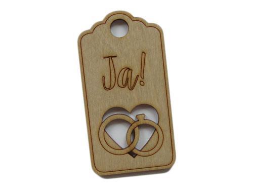houten label huwelijk JA!