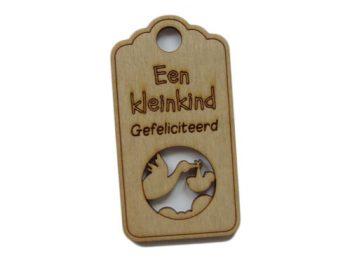houten label een kleinkind gefeliciteerd