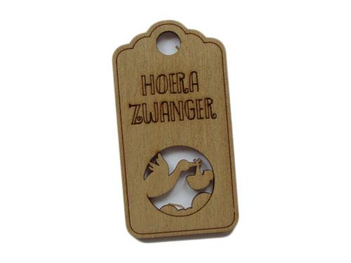 houten label hoera zwanger