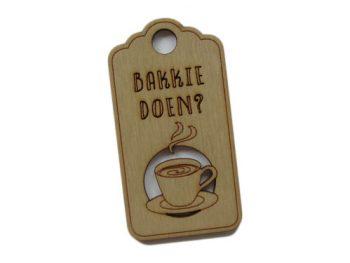 houten label bakkie doen?