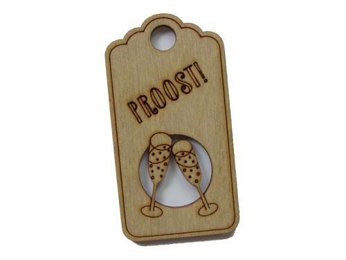 houten label proost! (champagne)