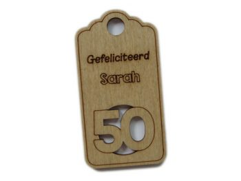 houten label sarah