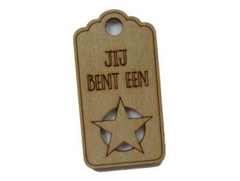 houten label jij bent een ster