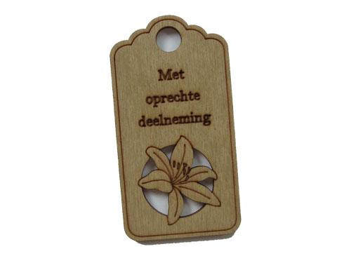houten label met oprechte deelneming