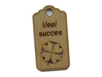 houten label veel succes