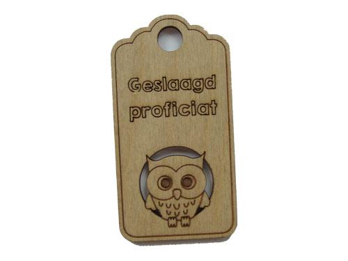 houten label geslaagd proficiat