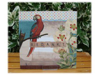 wenskaart vintage bedankt (papegaai)