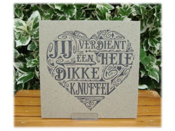 wenskaart letterpress knuffel