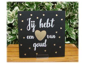 wenskaart letterpress hart van goud