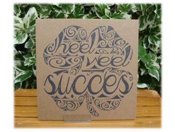 wenskaart letterpress heel veel succes