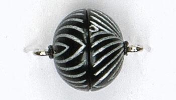 magneetsluiting 14mm streepmotief zwart-zilver