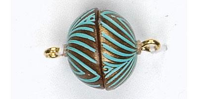 maagneetsluiting 14mm gestreept koper-turquoise