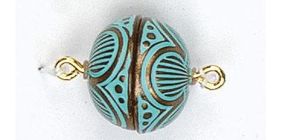 magneetsluiting 14mm boogmotief koper-turquoise