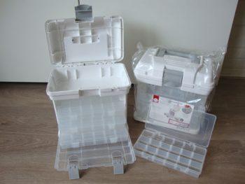 draagbare opbergbox met 4 sorteerdozen