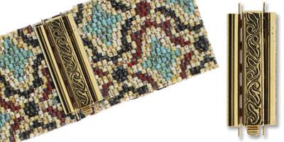 beadslide peyote sluiting swirl design 10x29mm antique gold