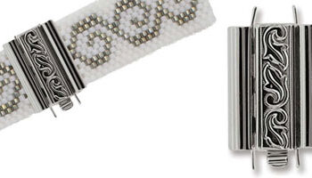 beadslide peyote sluiting swirl design 10x18mm silver