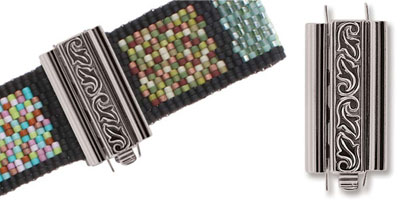 beadslide peyote sluiting swirl design 10x24mm silver