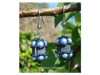 Pakket oorbellen Vinchènze De Daver Creations silver grey - light blue