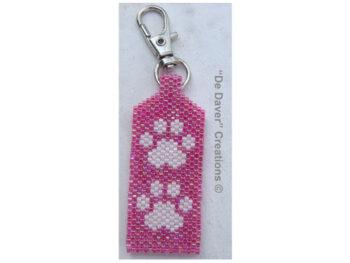 Pakket tag honden/poezenpootjes hot pink